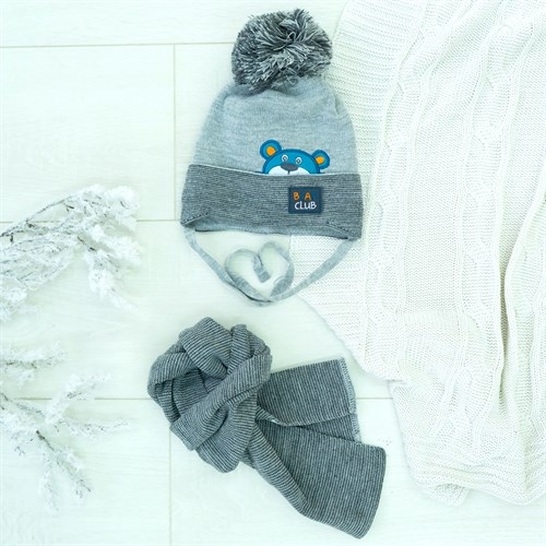 Комплект 36-342 шапка подклад хлопок+шарф - фото 12515