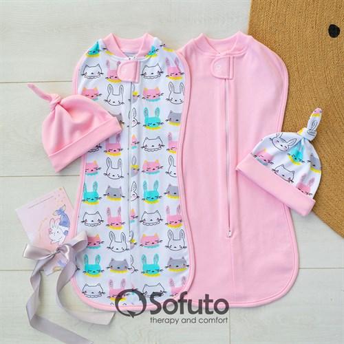 Комплект пеленок Sofuto Swaddler Pink Bunny - фото 12622