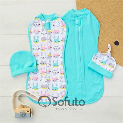 Комплект пеленок утепленный Sofuto Swaddler Mint bunny