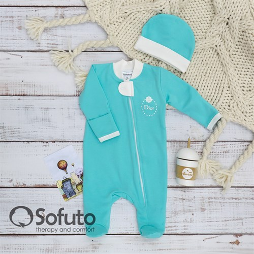 Слип тёплый на молнии с шапочкой Sofuto Baby Azure - фото 12704