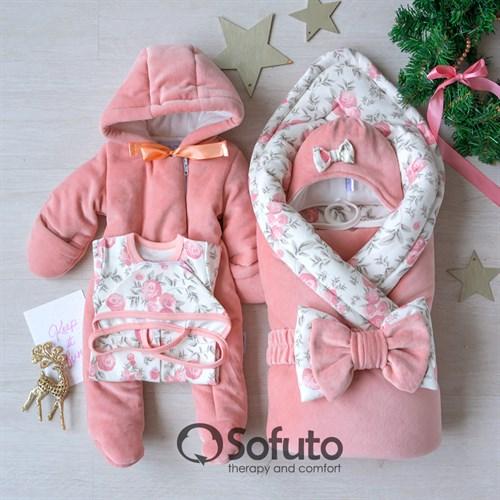 Комплект на выписку холодная зима (6 предметов) Sofuto baby Vintage Poudre - фото 12847