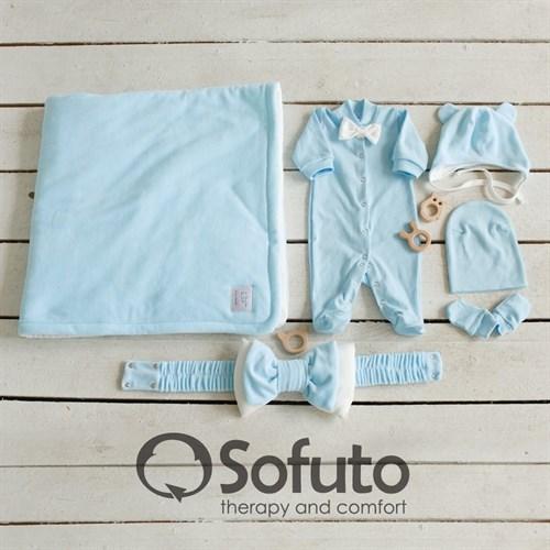 Комплект на выписку холодное лето (6 предметов) Sofuto baby Blue simple - фото 13275