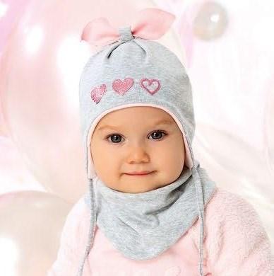 Комплект 40-006S шапка двойной трикотаж+снуд, серый - фото 13361