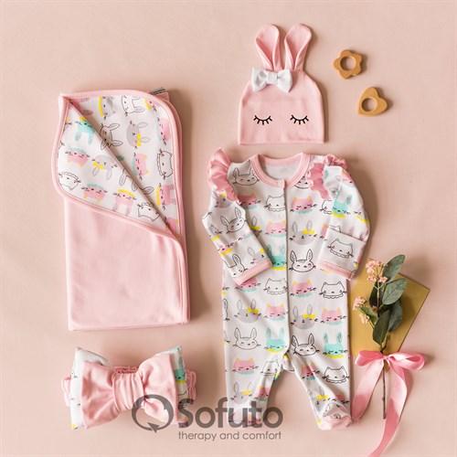 Комплект на выписку летний (4 предметa) Sofuto baby Pink Bunny