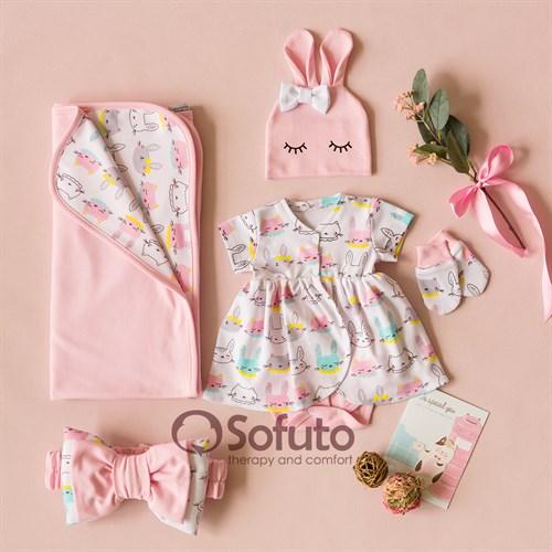 Комплект на выписку жаркое лето (5 предметов) Sofuto baby Pink Bunny