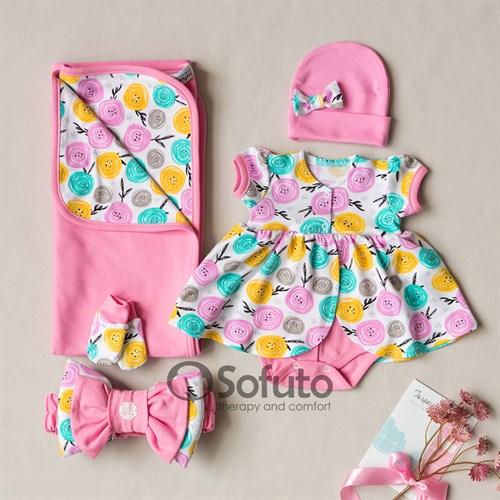 Комплект на выписку жаркое лето (5 предметов) Sofuto baby Rosa Dior