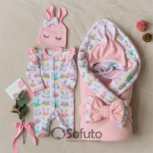 Комплект на выписку холодное лето (5 предметов) Sofuto baby Pink Bunny