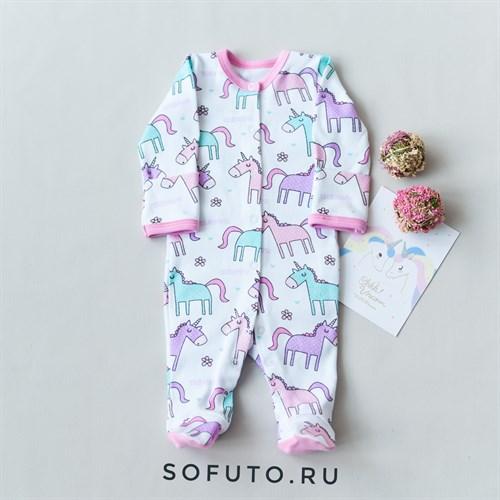 Слип на кнопках Sofuto baby Unicorn - фото 13758