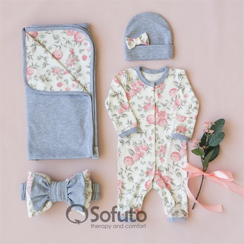 Комплект на выписку летний (4 предметов) Sofuto baby Vintage