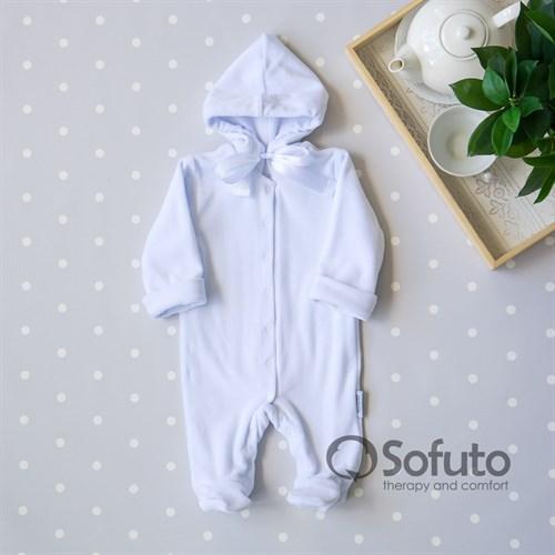 Комбинезон велюровый на кнопках Sofuto baby White