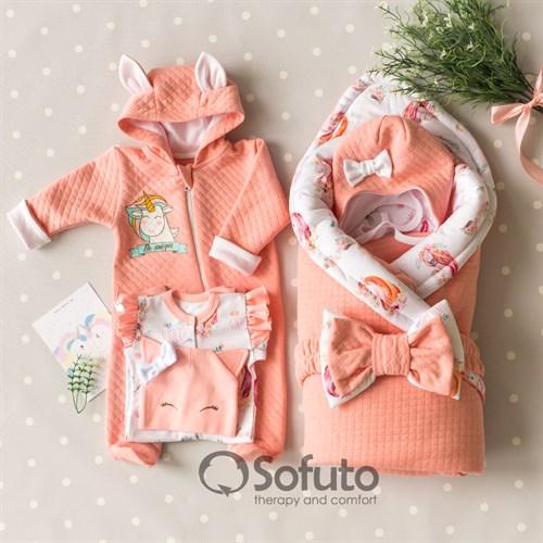 Комплект на выписку холодное лето plus (6 предметов) Sofuto baby Sweet Unicorn