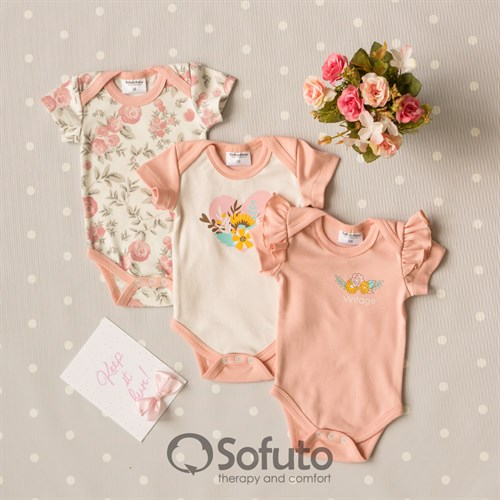 Набор боди короткий рукав Sofuto baby Vintage Poudre - фото 14030