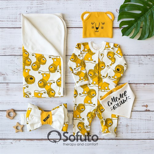 Комплект на выписку летний (5 предметов) Sofuto baby White Lion