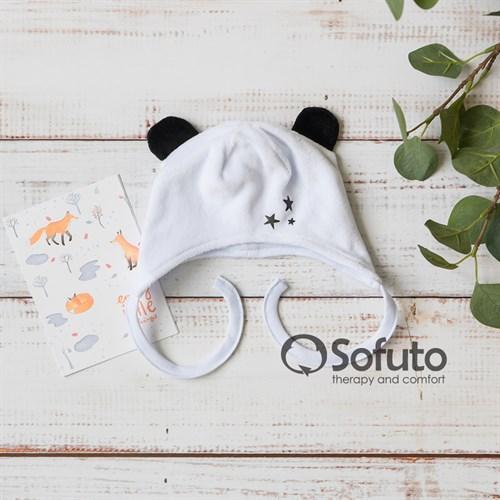 Шапочка демисезонная вязаная Sofuto baby Velour Panda
