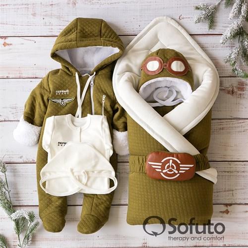 Комплект на выписку холодная зима (6 предметов) Sofuto baby Aviator - фото 14488
