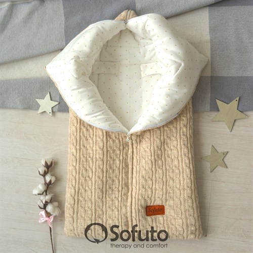 Конверт для автокресла зимний вязаный на молнии Sofuto Melange Milk Stars - фото 14679