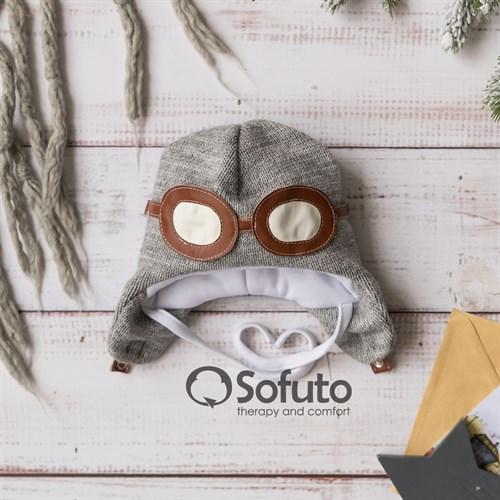 Шапочка зимняя вязаная Sofuto baby Aviator Gray - фото 14777