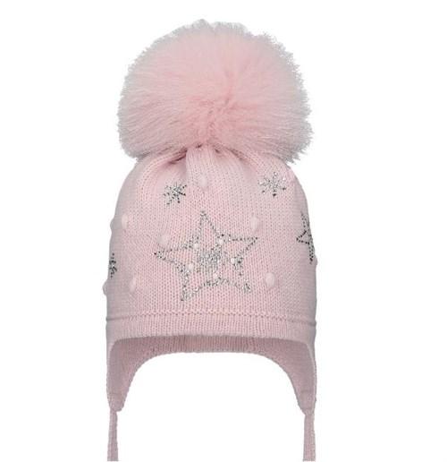 Шапка WN 02 на утеплителе, подклад хлопок, натуральный помпон, розовый - фото 15116