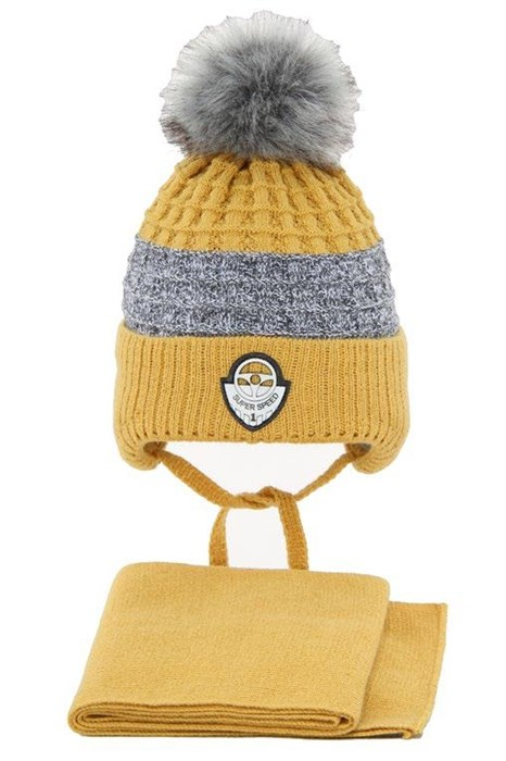 Комплект 3243 Fikus шапка на утеплителе, + снуд, горчичный - фото 15158