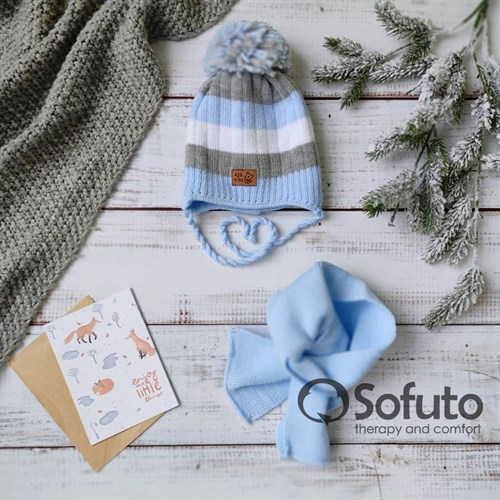 Комплект 40-411 двойная вязка + шарф, голубой - фото 15187