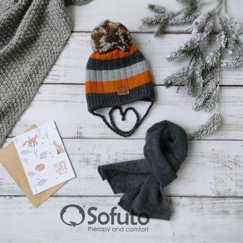 Комплект 40-411 двойная вязка + шарф, темно-серый - фото 15195