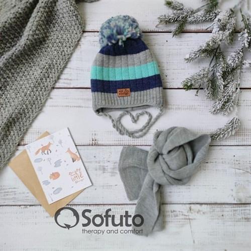 Комплект 40-411 двойная вязка + шарф, синий - фото 15196