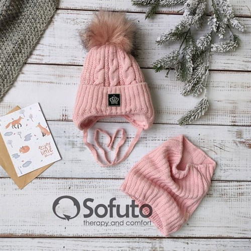 Комплект 2897 Tigra шапка на утеплителе, подклад хлопок + снуд, розовый - фото 15198