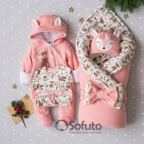 Комплект на выписку холодная зима (6 предметов) Sofuto baby Bambi - фото 15299