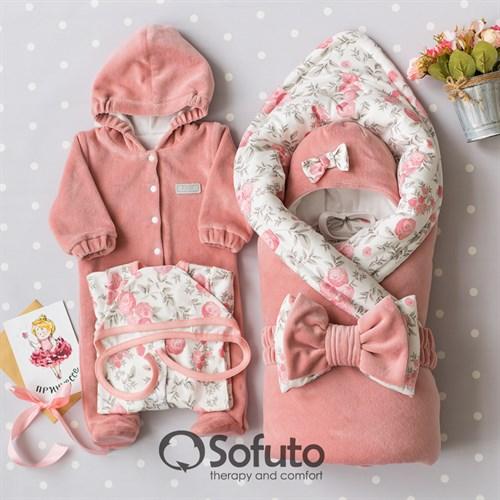 Комплект на выписку демисезонный (6 предметов) Sofuto baby Vintage poudre - фото 15448