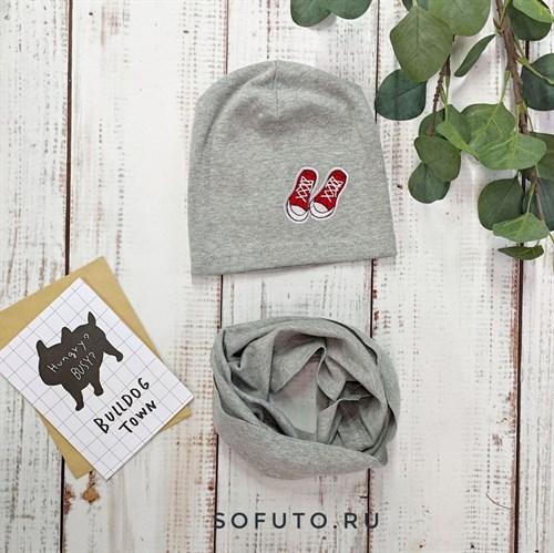 Комплект 820-104 шапка+снуд одинарный трикотаж, серый