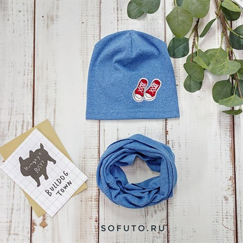 Комплект 820-104 шапка+снуд одинарный трикотаж, синий