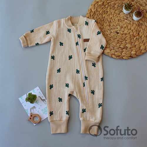 Cлип муслиновый на молнии Sofuto baby Cactus beige