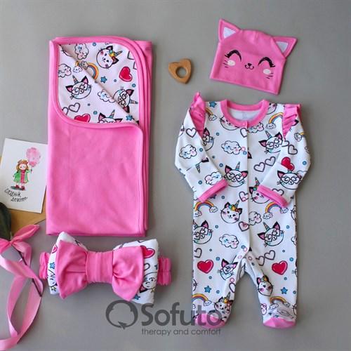 Комплект на выписку летний (4 предметa) Sofuto baby Caticorn