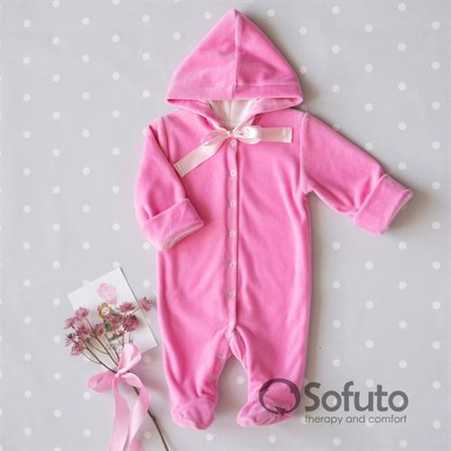 Комбинезон велюровый на кнопках Sofuto baby Pink