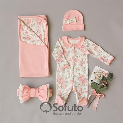 Комплект на выписку летний (4 предметов) Sofuto baby Vintage poudre