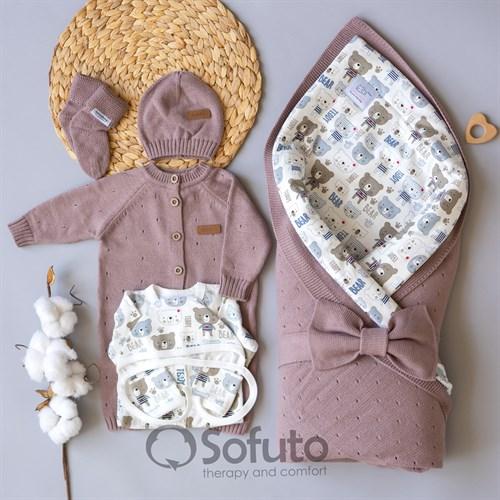 Комплект на выписку вязаный (8 предметов) Sofuto baby Teddy