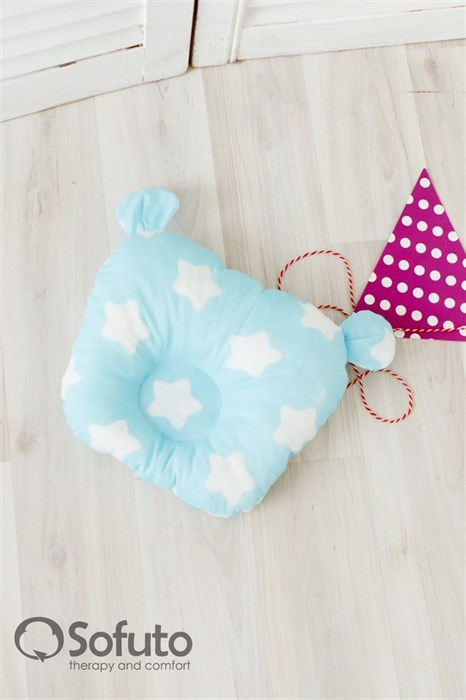 Подушка для новорожденного Sofuto Baby pillow Teddy Stars and waves aqua - фото 5328
