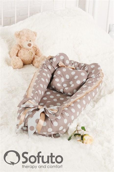 Кокон-гнездышко Sofuto Babynest Polka dot chocco - фото 5345