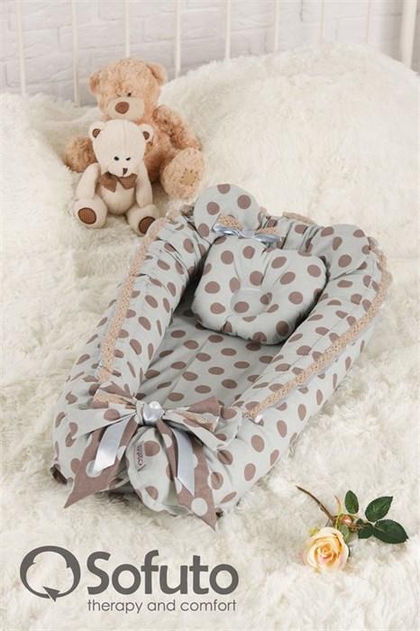 Кокон-гнездышко Sofuto Babynest Polka dot gray - фото 5360