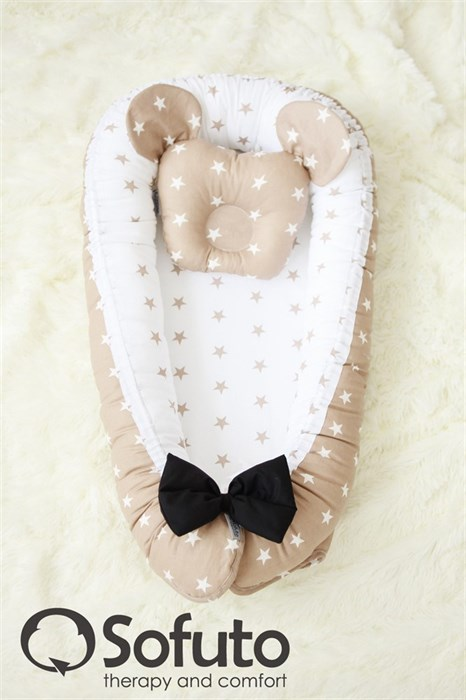 Кокон-гнездышко Sofuto Babynest Latte Dzhentlmen - фото 5366