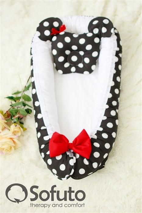 Кокон-гнездышко Sofuto Babynest Minnie black - фото 5374