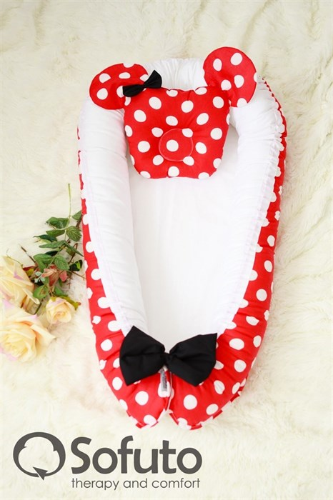 Кокон-гнездышко Sofuto Babynest Minnie red - фото 5396