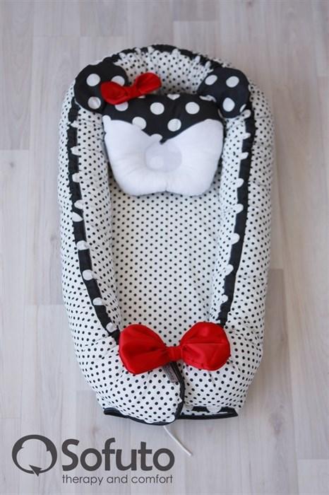 Кокон-гнездышко Sofuto Babynest Polka mini dot black - фото 5418