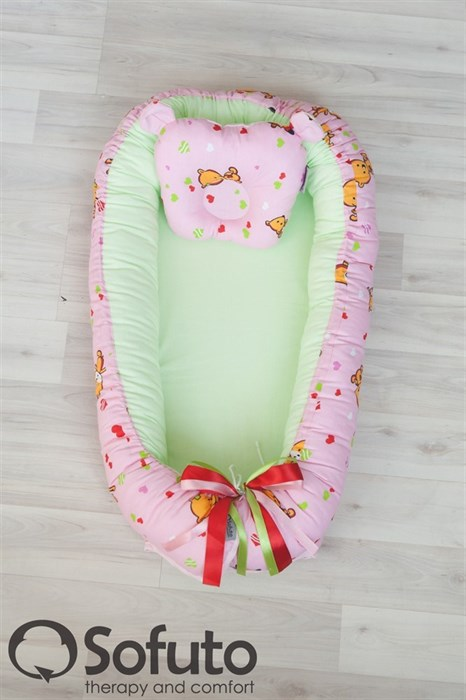Кокон-гнездышко Sofuto Babynest Likes pink - фото 5438