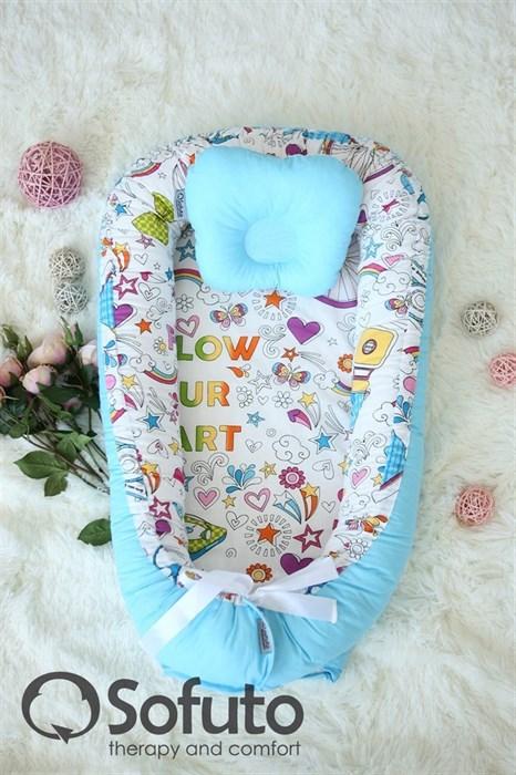 Кокон-гнездышко Sofuto Babynest Holiday blue - фото 5460