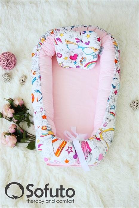 Кокон-гнездышко Sofuto Babynest Holiday roses - фото 5462