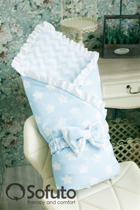Конверт-одеяло на выписку Sofuto Stars and waves blue sky - фото 5759