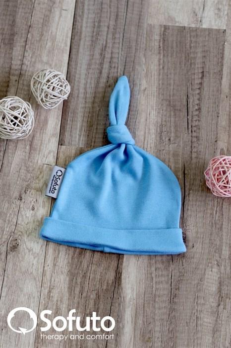 Шапочка узелок Sofuto Baby blue - фото 5832