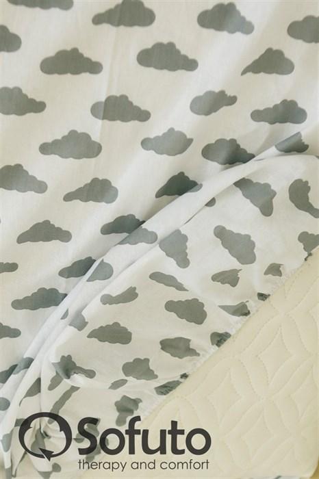 Простынь на резинке Sofuto Babyroom Clouds silver - фото 5895