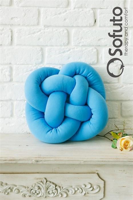 Декоративная подушка Sofuto Кельтский узел на удачу blue - фото 6011